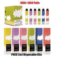 100% Оригинал POCO 2 в 1 Одноразовый комплект Устройства 2000 Комплект слойки 900 мАч Батарея 6 мл Двойные Pods Пустой Vape Pen 2in1 Max Plus подлинный