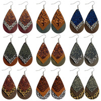 LeoPard Print PU кожаные серьги для женщин блеск гепард печать капли капля слеза PU сережки партии одобрения поставки Rra3959