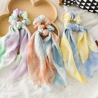 Лента Scrunchies Tie-окрашенные шифоновые полосы для волос эластичные женщины девушки волосы кольцо круга мода крепко-хвостик держатель для волос аксессуары для волос