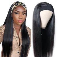150% Dichte Stirnband Perücke Menschliches Haar Brasilianer Gerade Menschliches Haar Vorfestigte Schal Maschine hergestellt Perücke für schwarze Frauen Schal Perücke