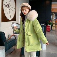Fitaylor 2020 yeni kış pamuk ceket kadınlar büyük kürk yaka kalın kapüşonlu parkas sıcak ceketler rahat yastıklı palto