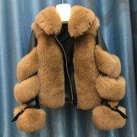 Зимняя мода женщины настоящие лисы меховые пальто натуральные овчины кожаные куртки натуральные лисы меховая куртка теплого пальто