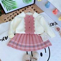Jargazol cair kids kids knit camisola cardiganskirt inverno criança criança criança meninas conjunto de roupas bonitos crianças pequenas roupas