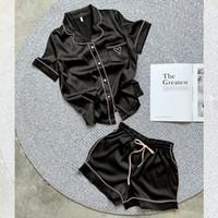 여성용 실크 잠옷 홈 슈트 하트 수 놓은 잠옷 PJ 세트 새틴 나이트웨어 잠옷 2020 Pijama Verano Mujer Q1201