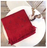 Wholesa brandWinter LOGOMANIA SHINE Scarf High Quality Wool Silk Scarf Women and Men Two Side Black Red Silk Wool Long Scarfs Flower Scarves