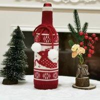 زينة عيد الميلاد عيد ميلاد سعيد ديكور المنزل محبوك زجاجة النبيذ غطاء الزجاج سحر سترة نويل سنة سعيد 2021