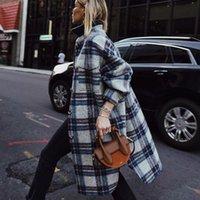 여성용 양모 혼합 가을 겨울 의류 패션 샌딩 모직 격자 무늬 롱 코트 트렌치 자켓 여성 회색 Flccking Streetwear Parkas