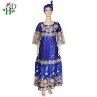 Vestuário étnico HD Vestidos de renda africana para mulheres Bazin Riche Bordado Gele Headtie África do Sul Dashiki Kanga Dress Evening Party Dresse