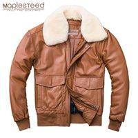 Maplesteed Thickening 퀼트 100 % 양모 가죽 자켓 남성 공군 G1 비행 자켓 맨 겨울 코트 칼라 이동식 M176 201216