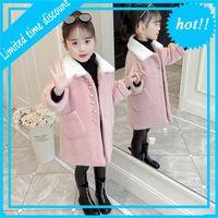 Розовые зимние куртки имитированы Nertsen Kashmir Kids Parka Wollen Куртка для девочек Обувь Детская одежда 4-14 лет