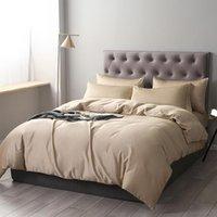 مجموعات الفراش الفاخرة 100٪ القطن الخالص مجموعة الجمال لحاف غطاء ورقة مسطحة السرير المخدة السرير للبالغين اللون 4PSC