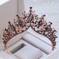 Kmvexo barroco rosa ouro preto cristal nupcial tiara strass dinestone coroa coroa para noivas headband acessórios de cabelo de casamento y1130