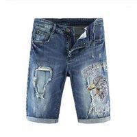 Мужские джинсы мужские мужские моды вскользь ястреб Eagle вышивка на колене Длина джинсовые шорты тонкие прямые вышитые синие джинсы1