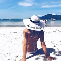 Summer Womens Wide Brim do not diaturb Sun Hat Embroidery St...