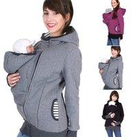 Baby Carrierjacke Frauen Winter Känguru Hoodie Mutterschaft Oberbekleidung Mantel Für schwangere Frauen tragen Baby Schwangerschaftskleidung B10 201021