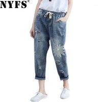 NYFS 2019 Yeni Bahar Sonbahar Kadın Kot Gevşek Harem Pantolon Nakış Yırtık Elastik Denim Dokuz Pantolon1