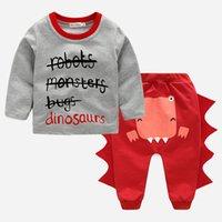 2 قطعة الوليد الوليد الرضع أطفال طفل الفتيان الملابس تي شيرت قمم + السراويل ديناصور الخريف الصبي الملابس الملابس