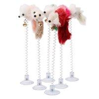 Ratos de balanço engraçados com copo de sucção peludo gato brinquedos coloridos caudas de penas rato brinquedos para gatos pequenos brinquedos de estimação bonito wq245