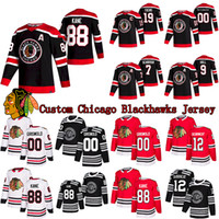 مخصص شيكاغو Blackhawks الهوكي جيرسي 88 باتريك كين 19 جوناثان تي نيوز 9 بوبي هال 2 دنكان كيث 00 كلارك جريسوولد جيرسي
