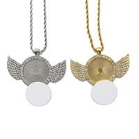 Sublimation Angel Wings Necklace Stick Diamante collana gioielli monili trasferimento termico stampa ciondolo fai da te con foglio in alluminio vuoto LLA301
