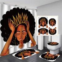 المرأة الأمريكية مع تاج دش ستارة الأفرو أفريقيا فتاة الملكة الأميرة حمام الستائر مع سجاد غطاء مقعد المرحاض مجموعة
