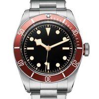 패션 망 L 자동 운동 기계 남자 손목 시계 레드 베젤 블랙 다이얼 로터 몬트레스 솔리드 걸쇠 제네바 시계 남자 시계