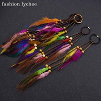 ヘアクリップバレットファッションリッチボヘミアンドレッドロックビーズカラフルな羽毛弾性リングロングペンダント女性拡張ツール