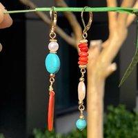 Dangle Avize Söyleme Hello Retro Uzun Turquoises Kabuk Inci Küpe Düzensiz Geometrik Etnik Tarzı Hediye Kadın D0139