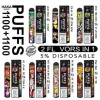Original Haka 2200Puffs monouso Penne VAPE SWITCH PENS 1100 + 1100 PUFFS 2-IN-1 Cartuccia a soffio VAPorizer e sigarette Doppio sapori Kit di avviamento