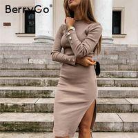 Berrygo Sexy Silm Женщины вязаное платье Повседневная длинная рукава женские кнопки свитер платье мода o шеи осень зимнее платье vestido 201204