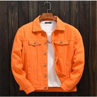 새로운 트렌디 한 남자의 봄과 가을 오렌지 데님 자켓 남성 캐주얼 재킷 탑 옷 겉옷 외투