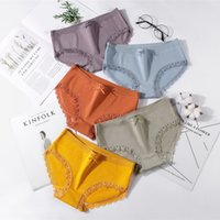 New simple pure color cute lace bow briefs cotton crotch ladies panties wholesale