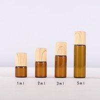 1 ml 2 ml 3 ml 5 ml Mini Rulo Metal Rulo Topları ve Plastik Ahşap Tahıl Kapağı Ile Cam Şişeler Doldurulabilir Aromaterapi Yağ Şişesi