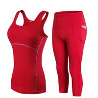 YD Gym Femme Sportswear Yoga Ensemble Suivi de la Femme Leggings pour Fitness Pantalon Running Pantalon Femelle Gilet Top Y200413