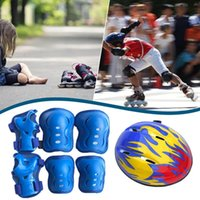 7 teile / satz Verstellbarer Fahrradhelm für Kinder 3-8 Jahre Mädchen Jungen Sport Schutzkleidungssatz Knie Ellenbogen Handgelenk Pads Rollschuhlaufen