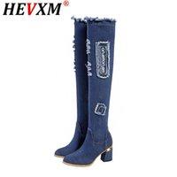 Stiefel womens denim über dem knie spitze three dicke high heels schuhe frau lässig quaste schnitt jeans lange botas mujer