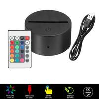 RGB 7 색 조명 3D 환상 램프에 대 한 LED 램프베이스 4mm 아크릴 라이트 패널 배터리 또는 DC 5V USB 3D 밤 조명
