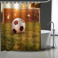 مخصص كرة القدم الكرة مطبوعة دش الستار الحمام للماء البوليستر قابل للغسل حمام ديكور المنزل الستائر مع السنانير