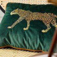 Çita Nakış Yastık Kılıfı Yastık Örtüsü Kadife Orman Cojines Decorativos Para Kanepe Yeşil Atmak Yastıklar Yastıklar Coussin