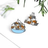 Bir grup kedi sevimli hayvanlar emaye iğne kahve fincanı özel broş fincan karikatür yaka pin rozeti hediye Cats1 seven arkadaşlar için