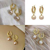 Vrouwen retro metalen oor ring sieraden dame plated gouden parel mode oorbellen 2020 nieuwe patroon hot koop 2 89xj j2