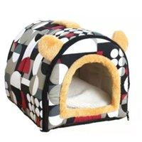 Удобная кошка теплая пещера прекрасный лук дизайн щенок зимняя кровать дом питомник флис мягкое гнездо для маленького среднего дома для кота lj201028