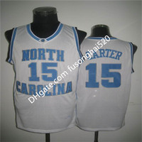 NCAA Vince Carter UNC Jersey North Carolina 15 Vince Carter 23 Michael Blu Bianco Stitched NCAA College Baskey Maglie, Loghi da ricamo