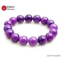 Qingmos Fashion Sugilite Bracelet per le donne con 12mm rotondo Purple Sugilite Pietra Bracciale Braccialetto Belle gioielli 7.5 '' bracciale BRA472 Y200730