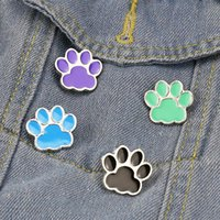 Dibujos animados lindo perro gato pata broche pins conjunto divertido animal pata aleación pintura broches para niños joyería regalo insignia camisa PIN