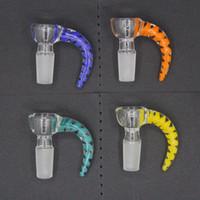 Новый 4 стиль рог стеклянный шар крючок чаша Бесплатная доставка 14мм Мужской Joint ручки Красивая чаша слайд Курительные принадлежности для Bongs Водопроводные трубы