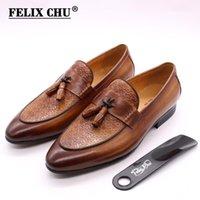 Felix Chu Mens Tassel mocassins de couro genuíno homens italiano estilo deslizamento no vestido sapatos casamento casamento casual sapatos moda1