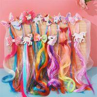 Cosplay peruca unicórnio faixa de cabelo moda borboleta cabelo ornamento princesa crianças fitas coloridas acessórios 36hs k2