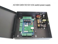 Contrôle d'accès d'empreintes digitales Contrôle TCP / IP Quatre porte Panneau à la porte avec boîte d'alimentation Batterie AC110V / 220V Support Wiegand Reader SN: L04_SET1