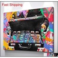 Unframed / Alec Монополия «Портфель деньги», HD HD Canvas Print Home Decor Wall Art Paintin Qylovy Packing2010
